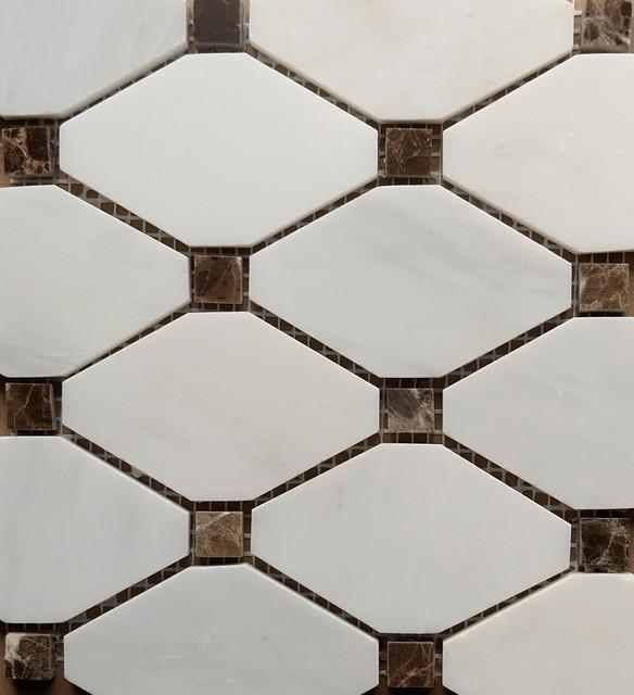 White Carrara - Dark Emparador Dot Diamond Mosaic Tile