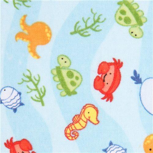 blue sea animals flannel fabric Riley Blake USA