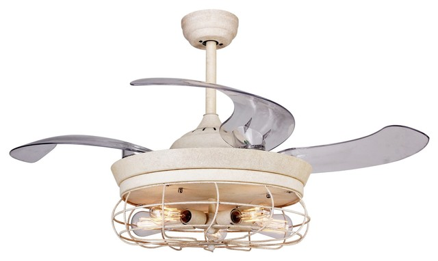 Industrial Ceiling Fan With Light, Retractable Blades.