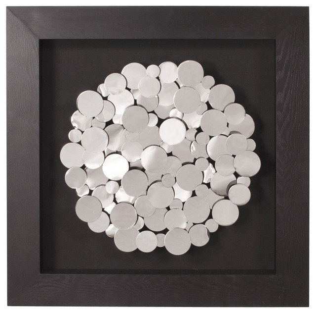 Chrome Coins Mounted on Black Frame Square Wall Art - Contemporary ...
