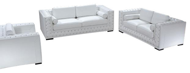 dublin white top grain leather 3 piece sofa set with crystal accents living room - White Living Room Furniture Sets