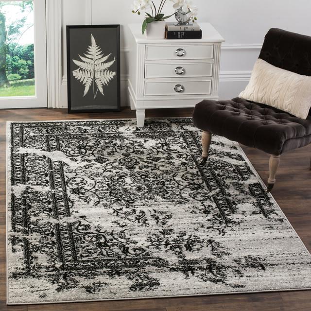 Safavieh Manar Woven Rug, Silver And Black, 2&x27;6x12&x27;.