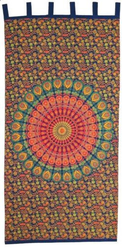 "Handmade Sanganer Mandala 100% Cotton Tab Top Curtain Drape Panel 44""x88""."