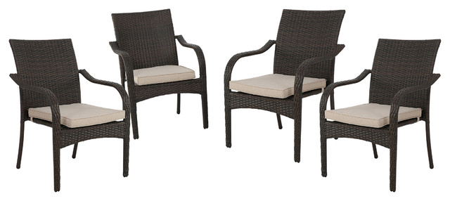 Florianopolis Brown Wicker Stacking Chairs, Set Of 4.