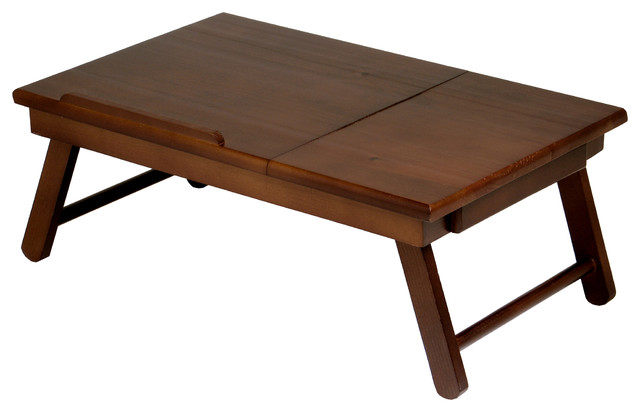 Winsome Alden Lap Bed Tray In Antique Walnut Finish Tv