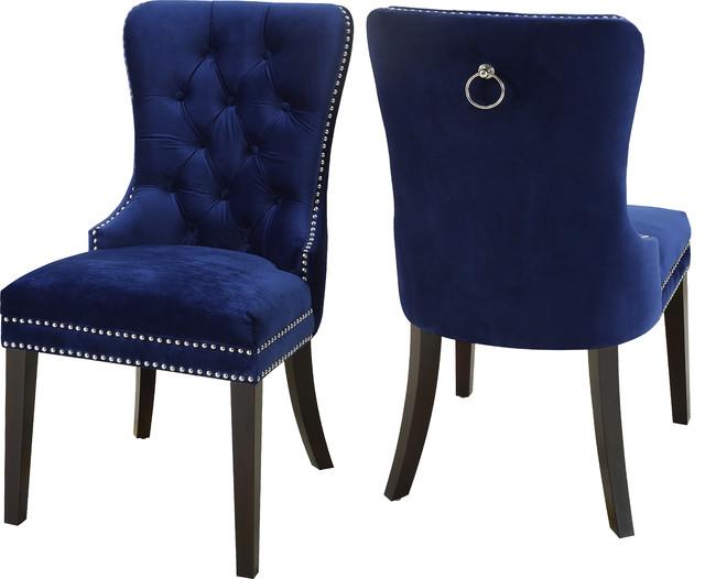 Nikki Velvet Dining Chairs, Set of 2, Navy