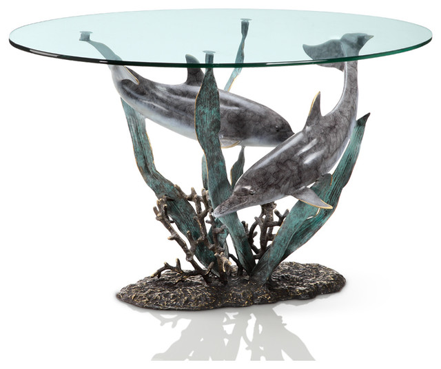 Dolphin Duet Coffee Table Beach Style Coffee Tables