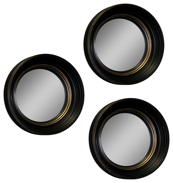 "Black And Gold Framed Convex Fish Eye Wall Mirrors 14"", Set Of 3."