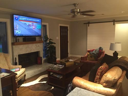 Front Door opens into open concept living room. Need help ...