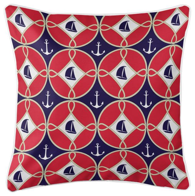 Sailboats and Anchors Pillow