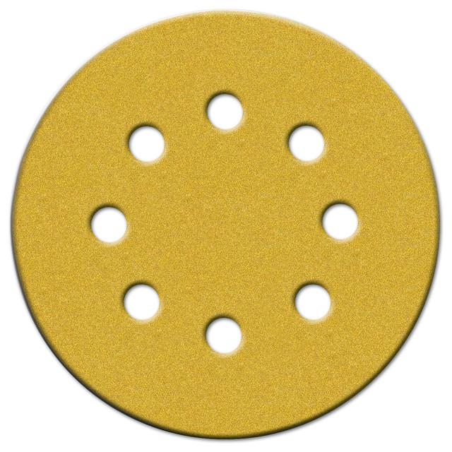 Norton 5 Hook & Loop Sanding Discs With 8 Holes 25-Piece, 220 Grit.