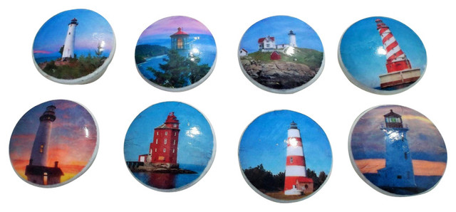 Lighthouse Cabinet Knobs, 8-Piece Set - Beach Style - Cabinet And ...