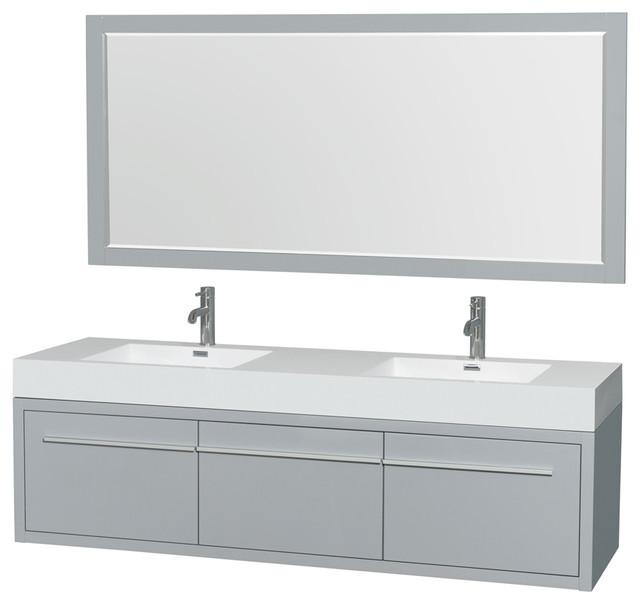 Axa Double Wall Mounted Bathroom Vanity Gray, 72, 58 Mirrors.