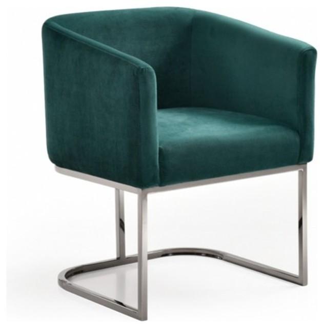 Modrest Yukon Modern Green Velvet Black Gun Dining Chair