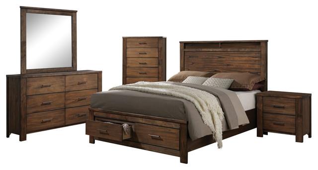 Brilliant Acme Merrilee 4 Piece Eastern King Storage Bedroom Set Oak Interior Design Ideas Lukepblogthenellocom