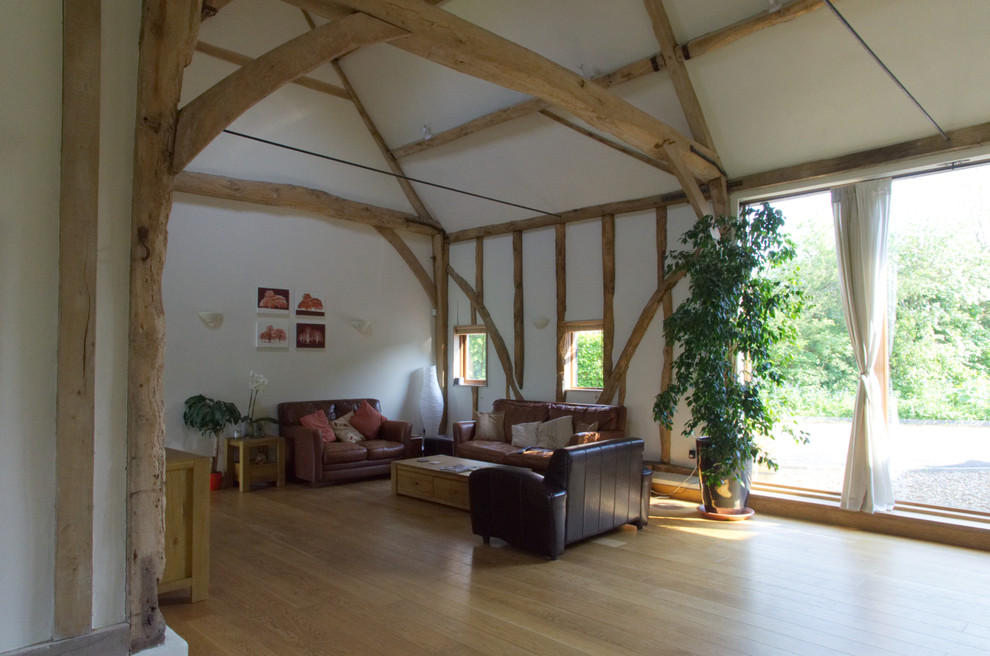Exposed beams to living room