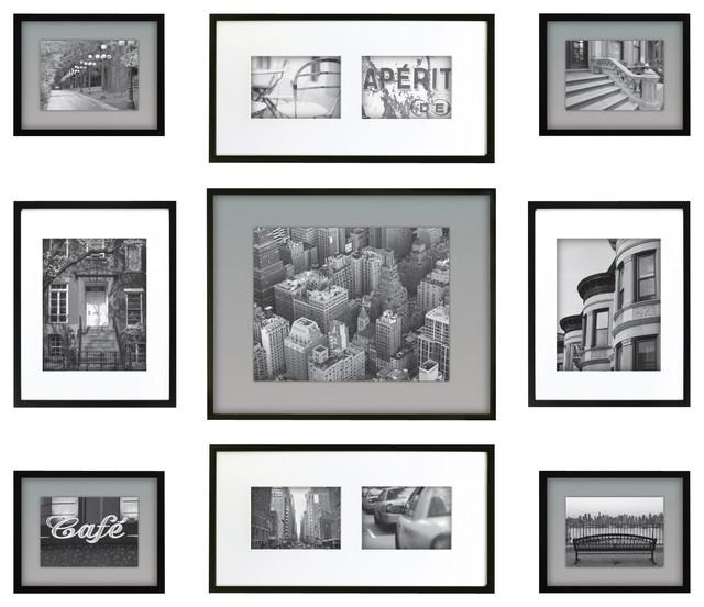 gallery perfect 9 piece frame set black modern artwork