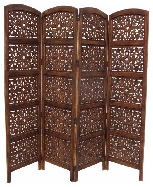 The Urban Port Handmade Foldable 4 Panel Wooden Screen Room Divider Brown