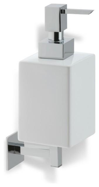 Wall Mounted Square White Ceramic Soap Dispenser Chrome