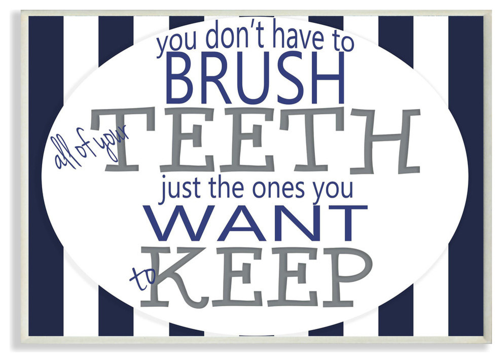 Brush All Of Your Teeth Striped Textual Bath Art Wall Plaque Contemporary Prints And Posters By Stupell Industries