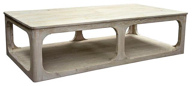 Reclaimed Lumber Gimso Coffee Table, Gray Wash Wax