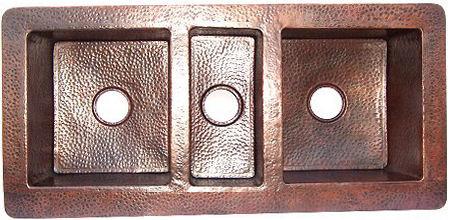 Triple Bowl Hammered Copper Kitchen Sink.