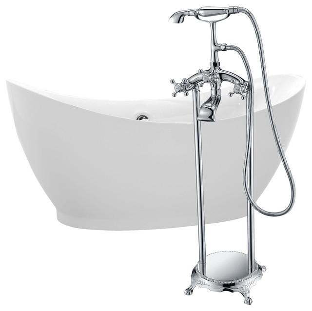 "ANZZI 68"" White Acrylic Soaking Bathtub With Polished Chrome Faucet"