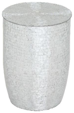 Stool Sparkling Metal Mirror Mosaic Finish Cylinder Modern Home Decor 27760