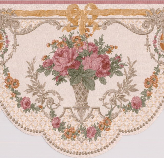 Pink Roses In Pots Vintage Floral Victorian Wallpaper Border Retro Design Roll