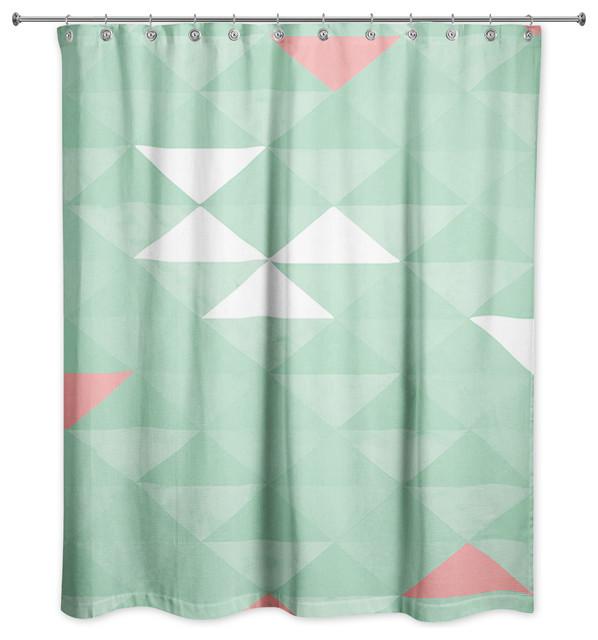 Triangle Celebration Mint Shower Curtain