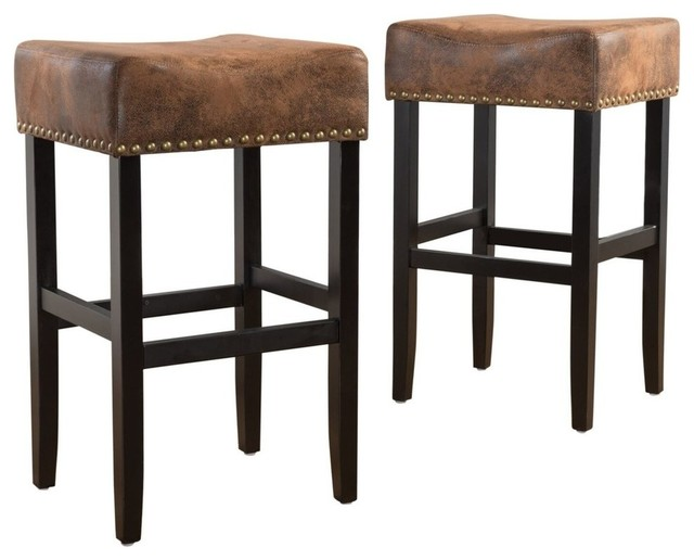 GDF Studio Chantelle Studded Accent Leather Counter Stools, , Set of 2