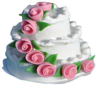 Rosebud Wedding Cake for Miniature Garden, Fairy Garden rustic-decorative-objects-and-figurines