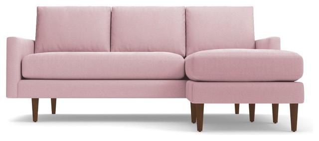 Scott Reversible Chaise Sofa, Blush Velvet