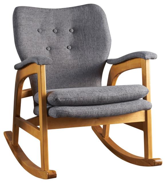 Sensational Gdf Studio Bethany Mid Century Fabric Rocking Chair Gray Ibusinesslaw Wood Chair Design Ideas Ibusinesslaworg