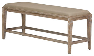 Samson French Country Rustic Oak Linen Bench