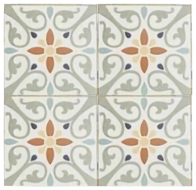Maioliche Clair Orange and Yellow Terracotta Tiles, Set of 4