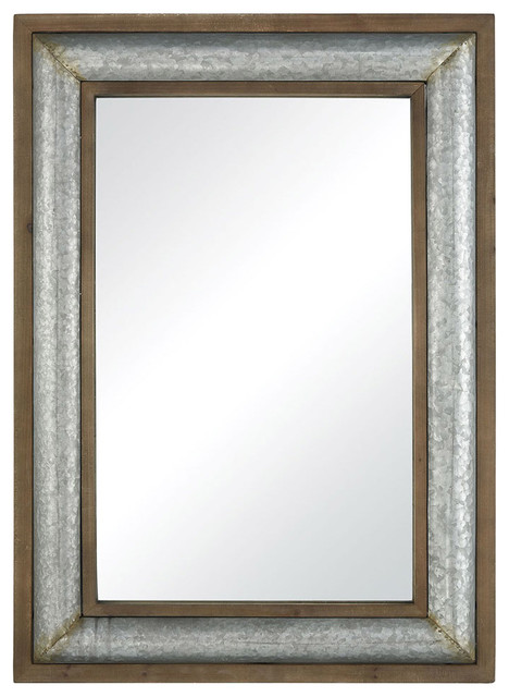 Laight Street Wall Mirrors, Galvanized Steel And Distressed Oak.