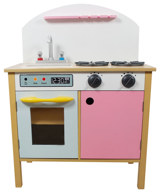 Dual Doors Wooden Play Kitchen, Pink Contemporary Kids Toys And Games