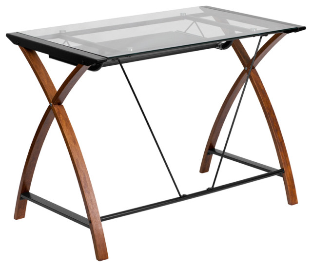 Glass Computer Desk With Pull Out, Flash Furniture L Shaped Computer Desk With Pullout Keyboard Tray
