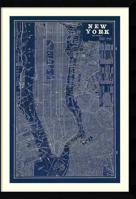 Susan schlabach blueprint map new york framed art print 30x42 susan schlabach blueprint map new york framed art print malvernweather Gallery