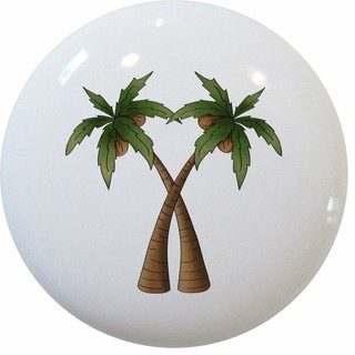 Coconut Palm Trees Ceramic Knob - Beach Style - Cabinet ...
