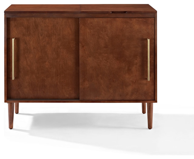 Everett Media Console Mahogany Finish Midcentury