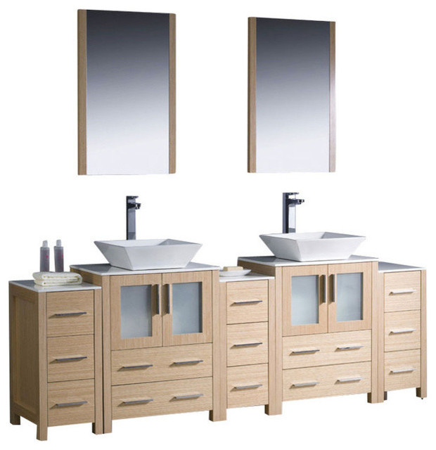 84 Inch Double Bathroom Vanity With Side Cabinets ...