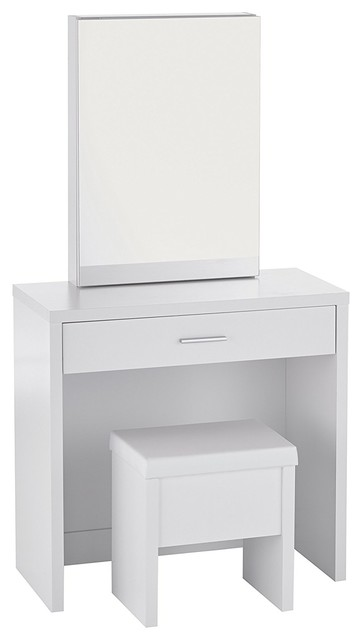 Incredible Contemporary Modern White Vanity And Upholstered Stool Set Mdf Particleboard Caraccident5 Cool Chair Designs And Ideas Caraccident5Info