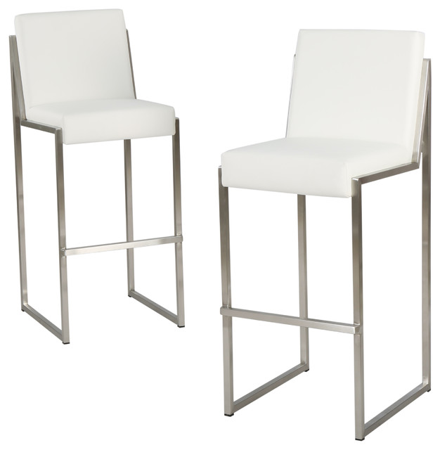 Velica Leather Bar Stools Set Of 2 White Contemporary