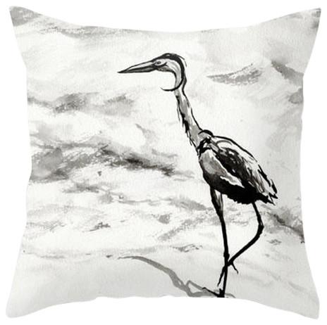 "Decorative Pillow Cover, Heron Crane Bird Art, 16""x16"" With Insert"
