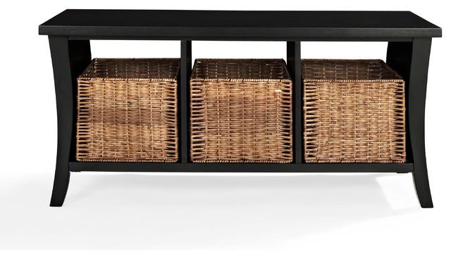 Crosley Furniture Wallis Entryway Storage Bench Black
