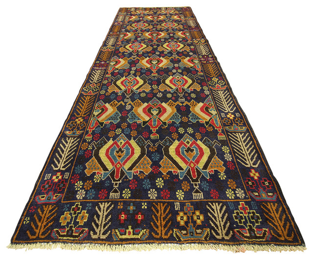 ... Stunning Free Pad Navy Blue X Oriental Tribal Hand Knotted Wool Persian  With Rug Runner ...