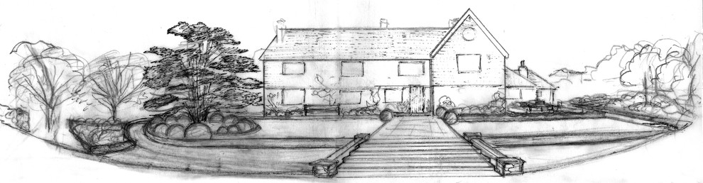 Elevation sketch showing landscaping at front of house