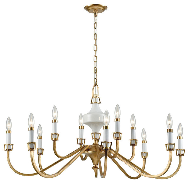 Ceramique 12 Chandelier Antique Gold Leaf